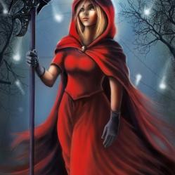 Amélia, la petite faucheuse rouge. Illustration intérieure du roman : L'Apprentie Faucheuse - J.Robin, Editions Le Héron d'Argent